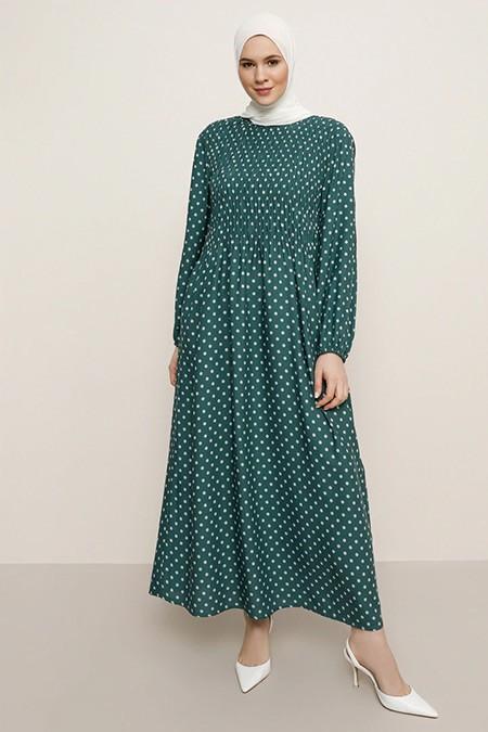 Alia Çam Yeşili Doğal Kumaşlı Puantiye Desenli Elbise
