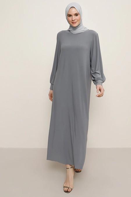 Alia Gri Basic Elbise