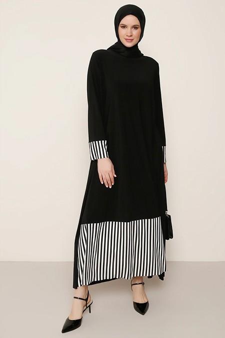 Alia Siyah Beyaz Çizgi Desen Detaylı Elbise