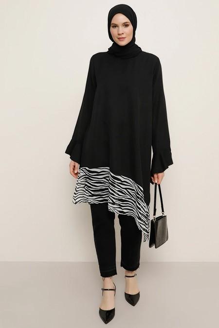 Alia Siyah Etek Detaylı Tunik