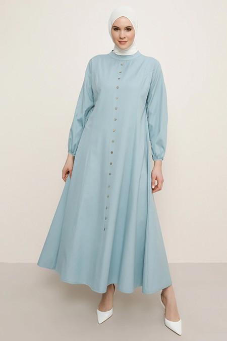 Alia Soft Mavi Boydan Düğmeli Elbise
