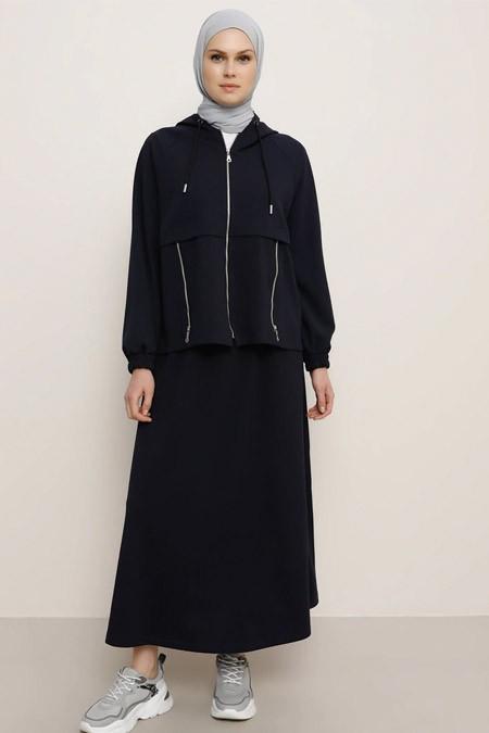 Benin Lacivert Kapüşonlu Ceket & Etek İkili Takım