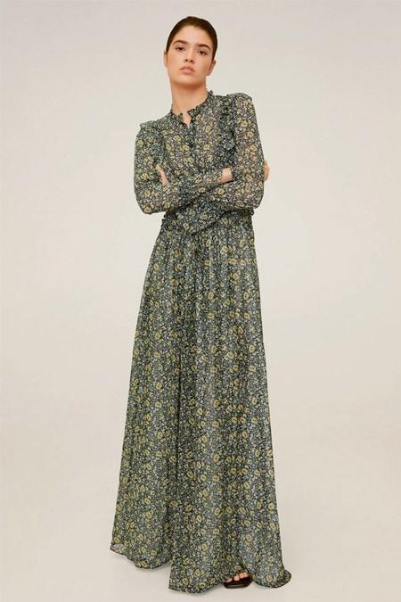 Mango Kabartma Çiçekli Uzun Elbise