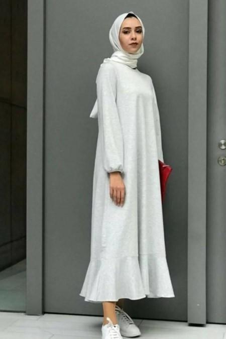 Melike Tatar Gri Fırfırlı Elbise