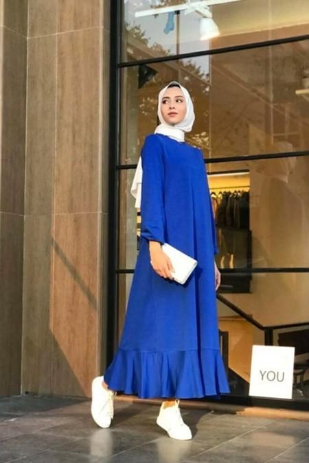 Melike Tatar Saks Fırfırlı Elbise
