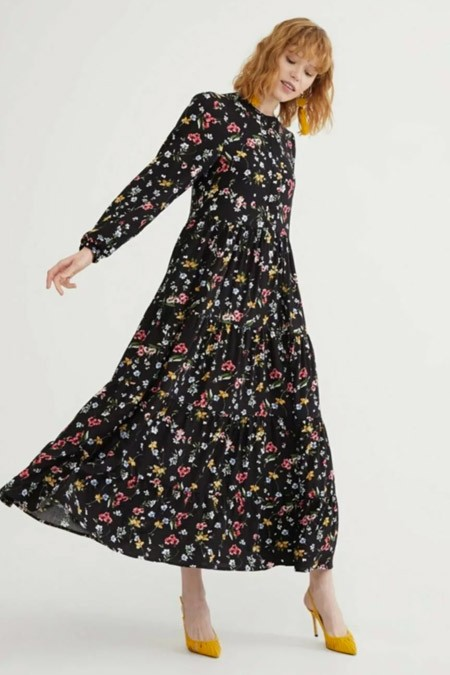Melike Tatar Siyah Lara Çiçekli Elbise