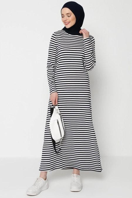 Muni Muni Lacivert Beyaz Çizgili Elbise