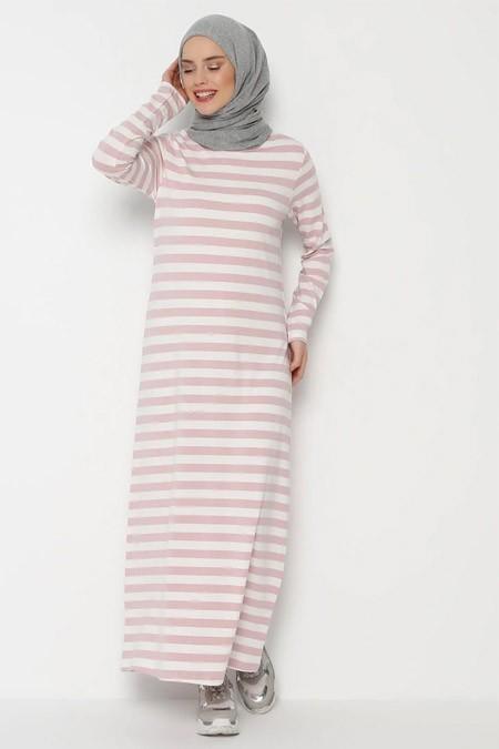 Muni Muni Pudra Çizgili Elbise