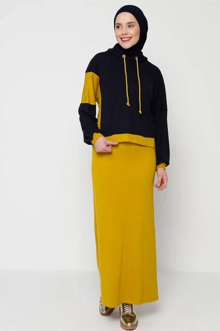 Muni Muni Siyah Sarı Sweatshirt & Etek İkili Takım