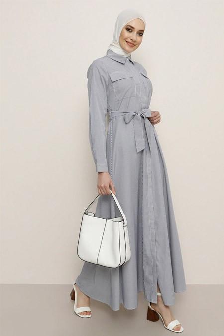 Refka Lacivert Beyaz Çizgili Desenli Elbise