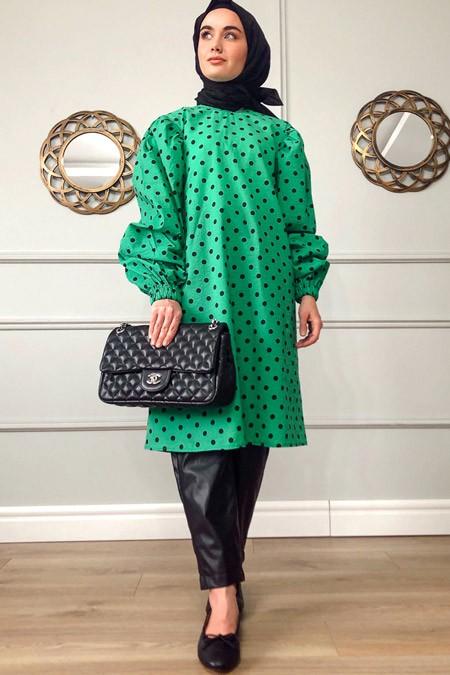 Sazze Design Yeşil Puantiyeli Tunik