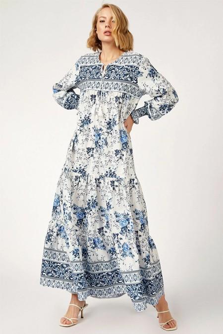 Bigdart Kol Büzgülü Robalı Desenli Keten Elbise