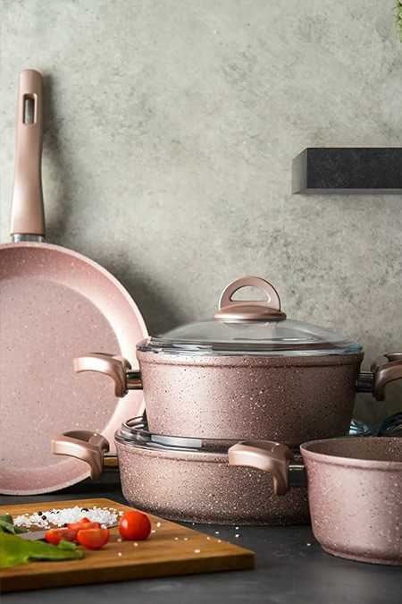 Emsan Premium Golden Pink Granit 7 Parça Tencere Seti