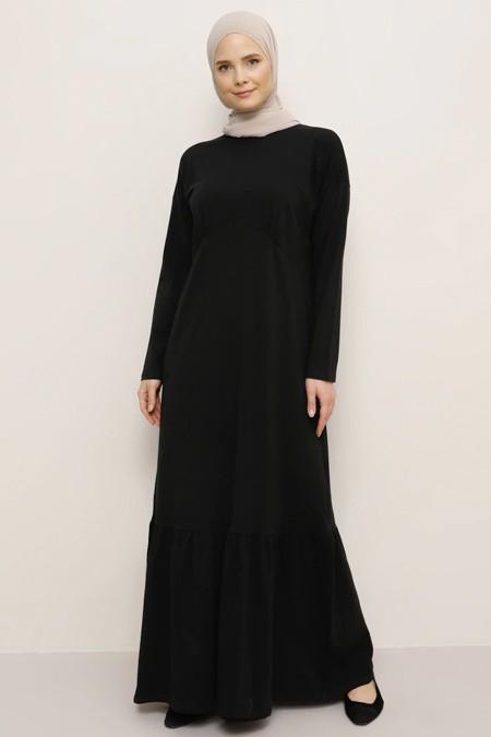 Everyday Basic Siyah Doğal Kumaşlı Basic Elbise