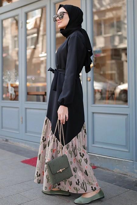 Gizce Siyah Bej Losenta Elbise