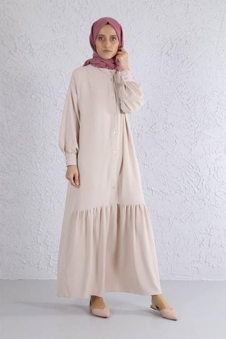 HE-QA Bej Eteği Büzgülü Elbise
