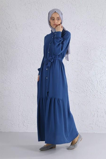 HE-QA İndigo Eteği Büzgülü Elbise