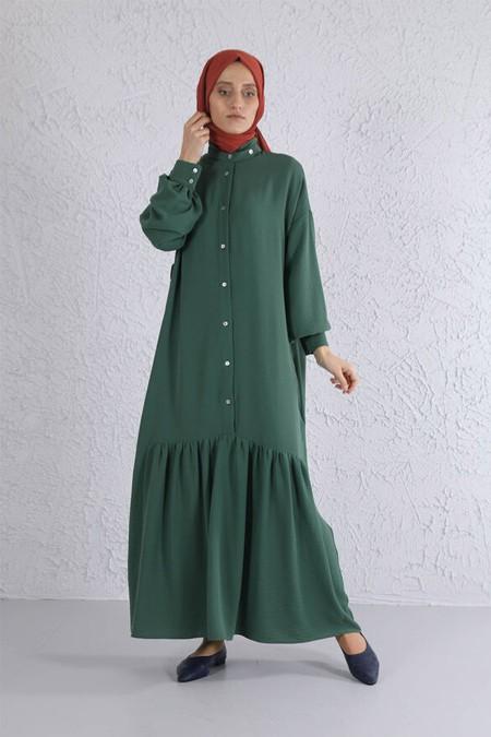 HE-QA Yaprak Eteği Büzgülü Elbise