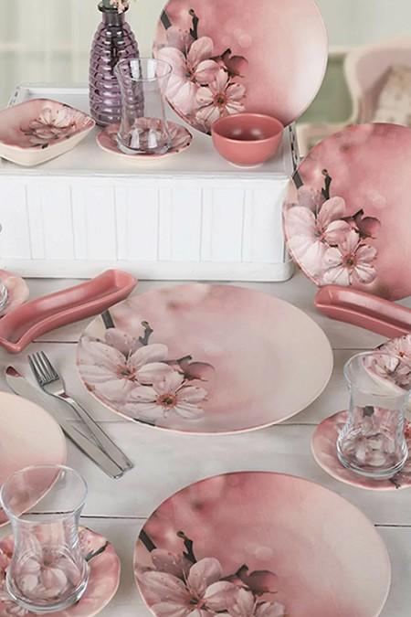 Keramika Yaz Gülü 19 Parça 4 Kişilik Kahvaltı Takımı
