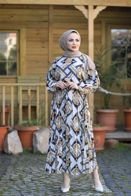 Moda Ekru Desenli Elbise