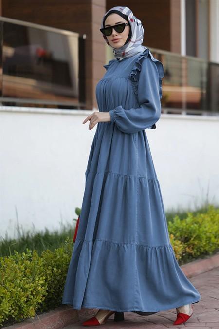 Neways Koyu Mavi Tensel Elbise
