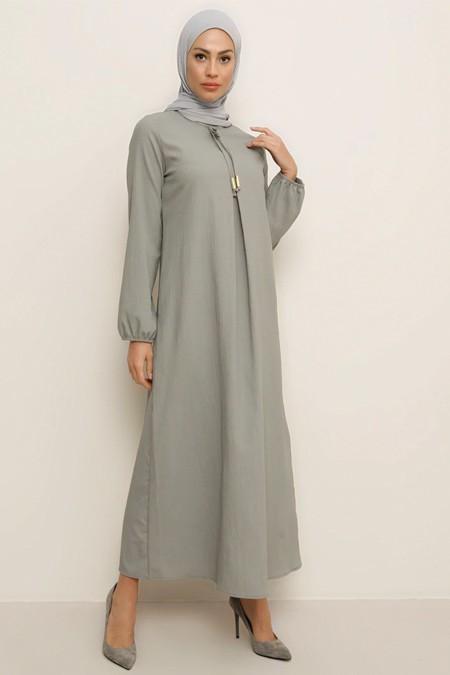 Tavin Gri A Pile Fiyonk Yaka Detaylı Elbise