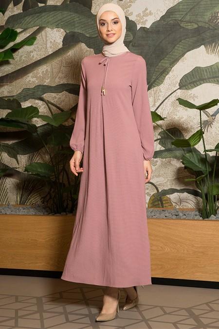 Tavin Gül Kurusu A Pile Fiyonk Yaka Detaylı Elbise