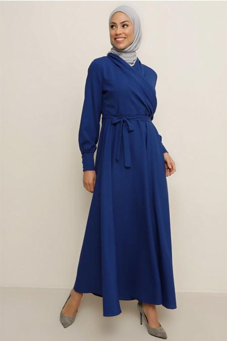 Tavin İndigo Doğal Kumaşlı Kuşak Detaylı Elbise