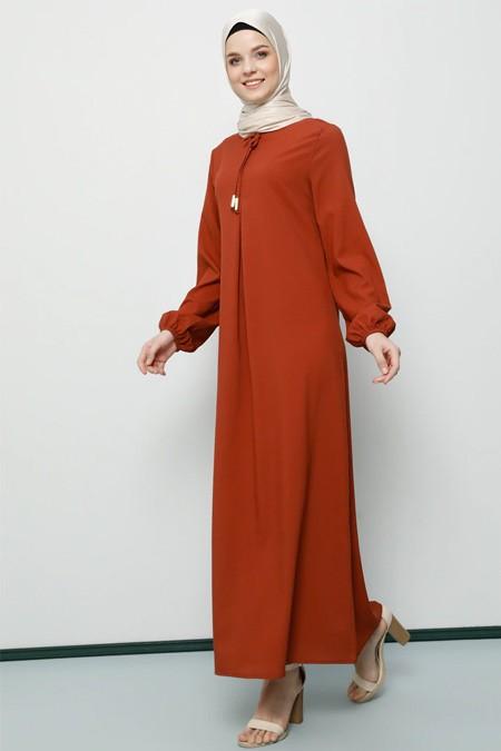Tavin Kiremit A Pile Fiyonk Yaka Detaylı Elbise