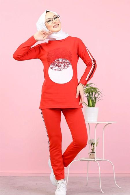 Tofisa Kırmızı Tesettür Tunik Pantolon