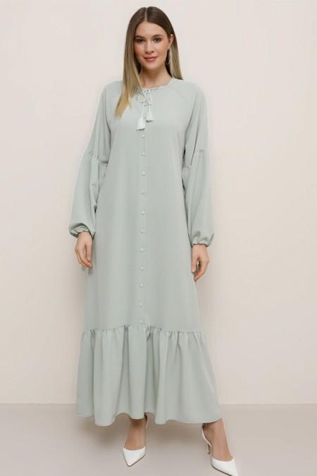Alia Su Yeşili Eteği Volanlı Elbise
