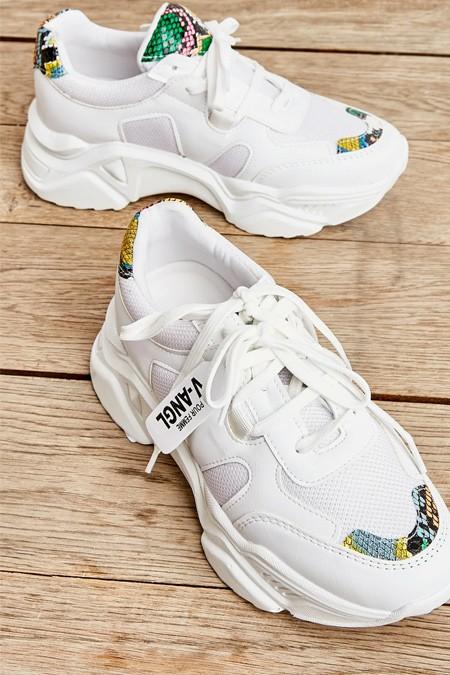 Bambi Beyaz Çok Renkli Yılan Kadın Sneaker