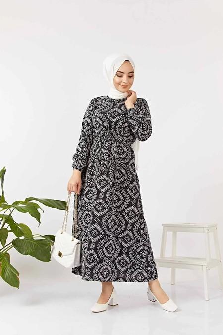 Benguen Siyah Etnik Desen Kuşaklı Elbise