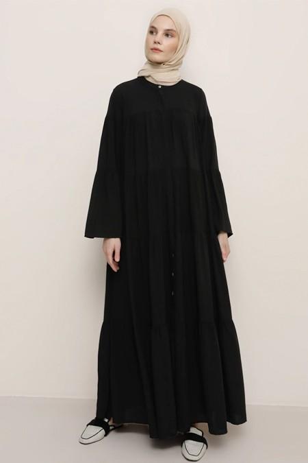 Benin Siyah Doğal Kumaşlı Gizli Düğmeli Elbise
