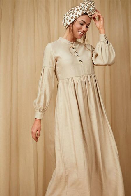 Defacto Düğme Detaylı Dokuma Vizon Elbise