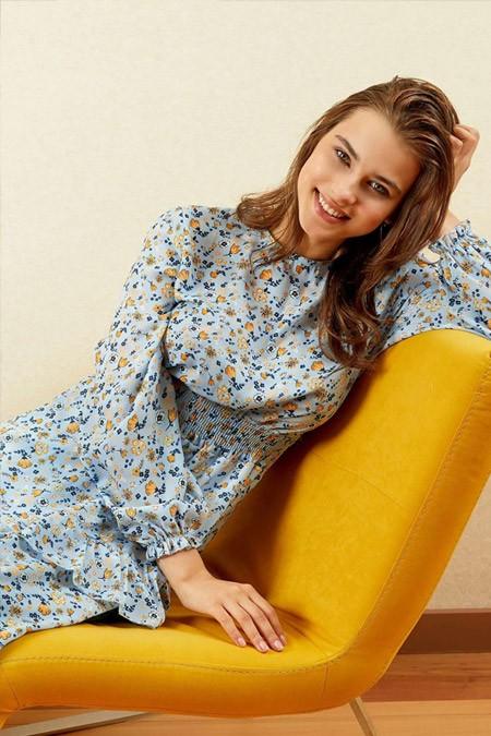 Defacto Desen Detaylı Kuşaklı Dokuma Mavi Elbise
