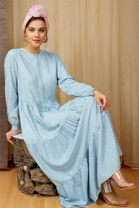 Defacto Kol Detaylı Dokuma Mavi Elbise