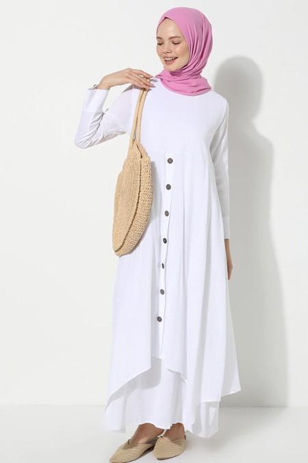 Elis Şile Bezi Beyaz Şile Bezi Düğmeli Elbise