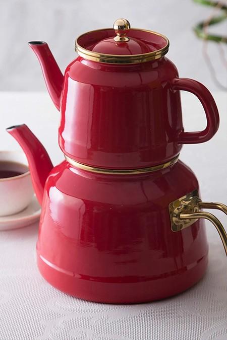 Emsan Kırmızı Troy Emaye Çaydanlık Takımı