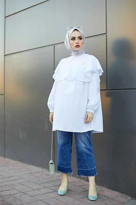 Festmoda Beyaz Fırfır Detaylı Tesettür Tunik