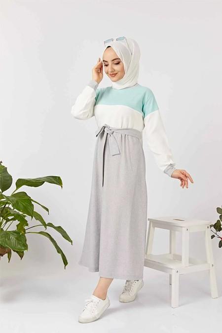 Festmoda Mint Kuşaklı Spor Tesettür Elbise
