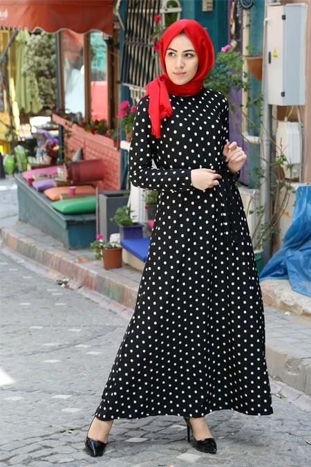 Festmoda Puantiyeli Tesettür Elbise