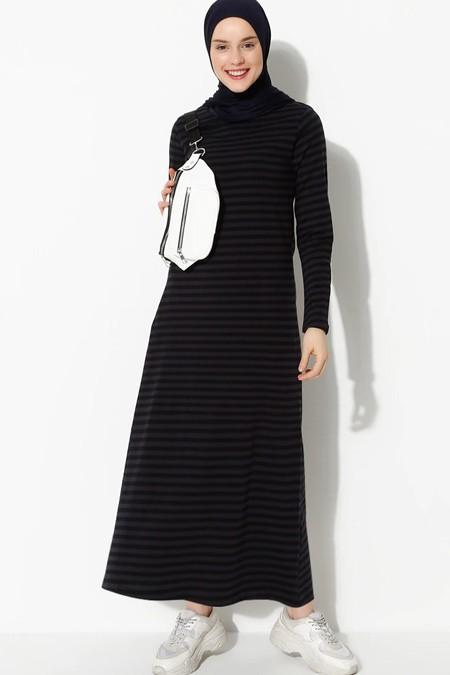 Muni Muni Lacivert Çizgili Elbise