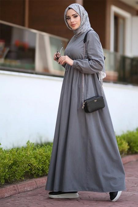 Neways Gri Beli Bağcıklı Elbise