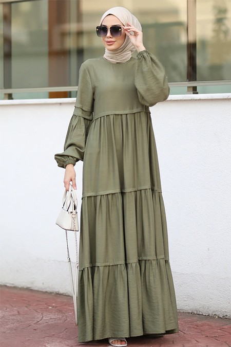 Neways Haki Balon Kol Detaylı Elbise