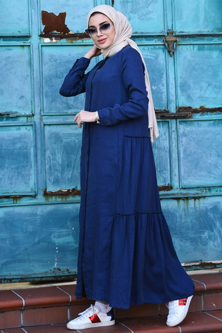Neways Lacivert Arkası Büzgülü Kot Elbise