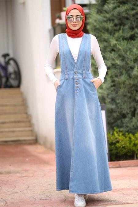 Neways Mavi Kot Salopet Jile Elbise