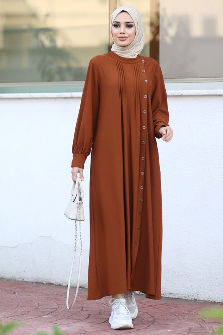 Neways Taba Yandan Düğmeli Tensel Elbise