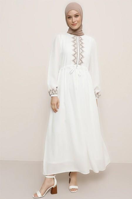 Refka Beyaz Kolsuz Boydan İç Astar & Elbise İkili Takım