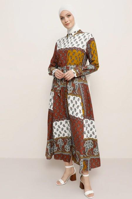 Refka Kiremit Doğal Kumaşlı Desenli Elbise